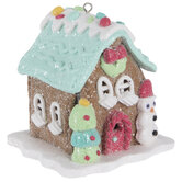 Blue Gingerbread House Ornament
