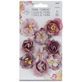 Mauve Rose Flower Embellishments