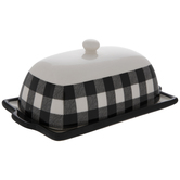 Black & White Buffalo Check Butter Dish