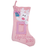 Pink My 1st Christmas 2020 Frame Stocking