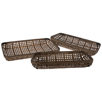 Dark Brown Woven Rectangle Tray Set
