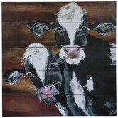 Two Cows Plank Canvas Wall Decor