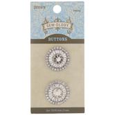 Silver Rhinestone Shank Buttons - 21mm