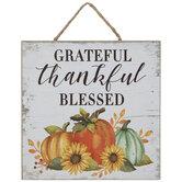 Grateful Thankful Blessed Pumpkin Wood Wall Decor