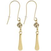 10K Gold Plated Rhinestone Ball & Paddle Earrings