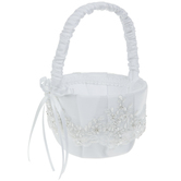 White Embroidered Floral & Pearl Flower Basket