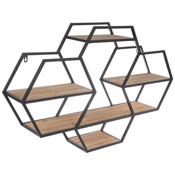 Hexagon Four-Tiered Metal Wall Shelf