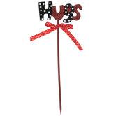 Hugs Polka Dot & Glitter Wood Pick