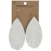 White Leather Leaf Earrings