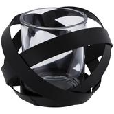 Black Round Criss-Cross Metal Candle Holder