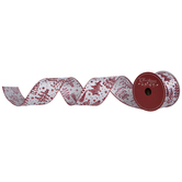 White & Red Glitter Tree Wired Edge Ribbon - 2 1/2""