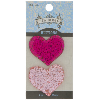 Glitter Heart Shank Buttons - 35mm