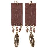 Brown Imitation Leather & Leaf Pendants