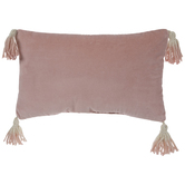 Pink Velvet Pillow With Ombre Tassels