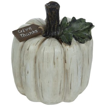 White Pumpkin With Give Thanks Tag