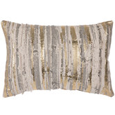 Beige & Gold Distressed Striped Pillow