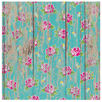 """Floral On Turquoise Wood Scrapbook Paper - 12"""" x 12"""""""