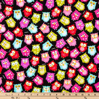 Bright Owls Cotton Calico Fabric