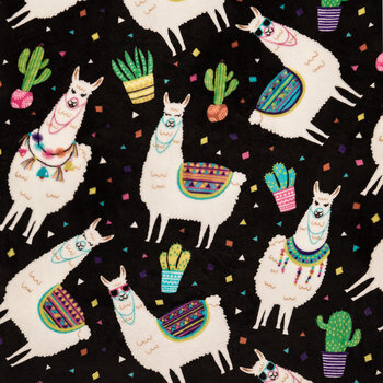 Llama Party Velvet Fleece Fabric