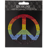Rainbow Rhinestone Peace Sign Iron-On Applique