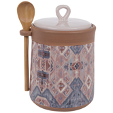 Pink Southwestern Canister With Spoon
