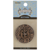 Black Scroll Round Wood Button - 38mm