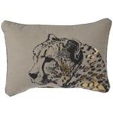 Gray & Metallic Gold Leopard Pillow