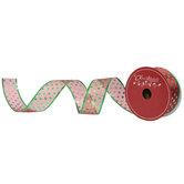 "Red & Metallic Green Polka Dot Wired Edge Ribbon - 1 1/2"""