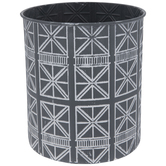 Gray & White Geometric Metal Container