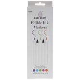 Neon Double Tip Edible Ink Markers - 5 Piece Set