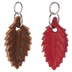 Red & Brown Leather Leaf Charms