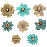 Teal Paper Flower Embellishments