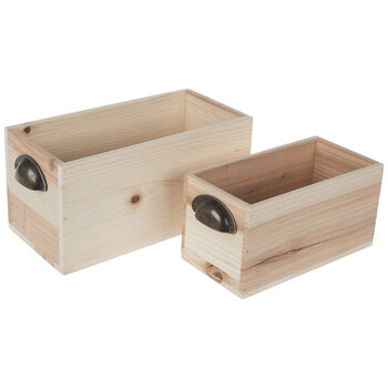 Rectangle Wood Box With Handles Set