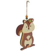 Squirrel With Flower Wood Ornament
