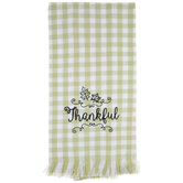 Green & White Plaid Thankful Kitchen Towel