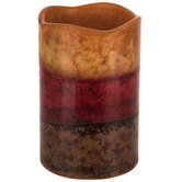 Tuscan Sunset Layered LED Pillar Candle