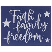 Faith Family Freedom Wood Decor