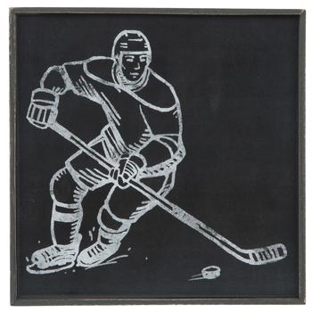 Hockey Player Sketch Wood Wall Decor