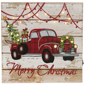 Merry Christmas Truck Light Up Wood Wall Decor