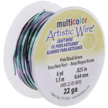 Pink, Black & Green Artistic Wire - 22 Gauge