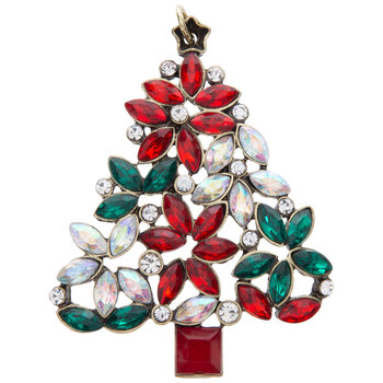 Vintage Poinsettia Christmas Tree Pendant