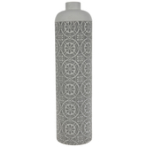 Gray & White Medallion Metal Vase
