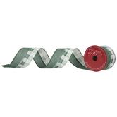 "Green & Silver Plaid Wired Edge Ribbon - 2 1/2"""