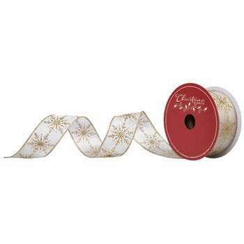 """Gold Glitter Snowflakes Wired Edge Sheer Ribbon - 1 1/2"""""""
