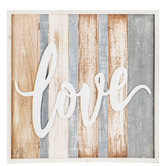 Love Striped Wood Wall Decor