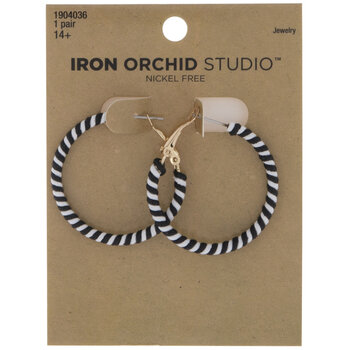 Black & White Striped Hoop Earrings