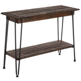 Industrial Slatted Wood Console Table