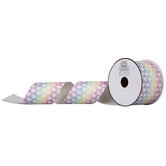 "Rainbow Heart Glitter Canvas Ribbon - 2 1/2"""