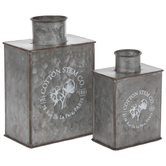 Cotton Stem Co. Galvanized Metal Vase Set
