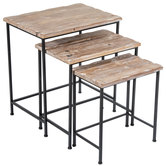 Distressed Wood Accent Table Set